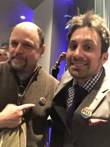 "Jason Alexander after our LA show, wearing our brand new ""Vote PMJ"" button."